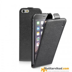 Mustad nahkkaaned  + ekraani kaitsekile iPhone 6