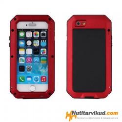 Stiilne punane metallist ümbris iPhone 4, 4S