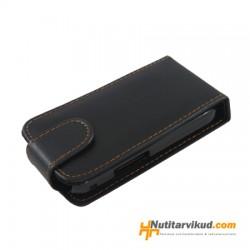 Mustad nahkkaaned + kaitsekile Samsung Galaxy Gio S5660
