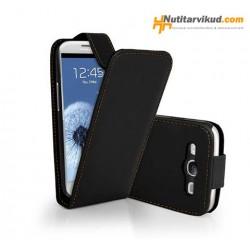 Mustad nahkkaaned  + ekraani kaitsekile Samsung Galaxy SIII (i9300)