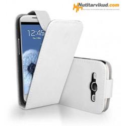 Valged nahkkaaned  + ekraani kaitsekile Samsung Galaxy SIII (i9300)