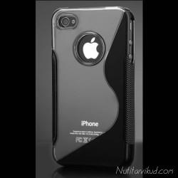S-line hall/must silikoonümbris + ekraani kaitsekile iPhone 4,4S