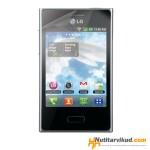 Roosad nahkkaaned  + ekraani kaitsekile LG Optimus L3 E400
