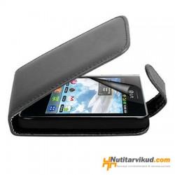 Mustad nahkkaaned  + ekraani kaitsekile LG Optimus L3 E400