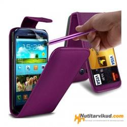 Lillad nahkkaaned  + ekraani kaitsekile Samsung Galaxy SIII (i9300)
