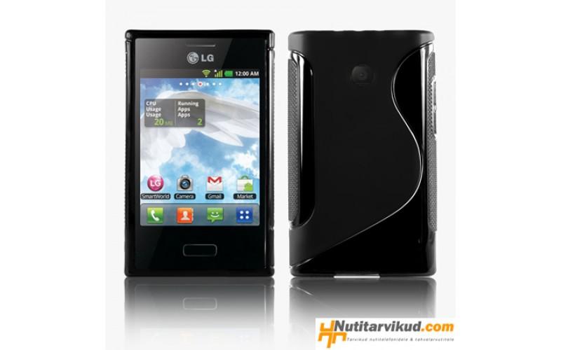 Must S-line silikoonümbris + ekraani kaitsekile LG Optimus L3 E400
