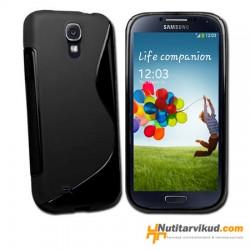 Must S-line silikoonümbris+kaitsekile Samsung Galaxy S4 (i9500)