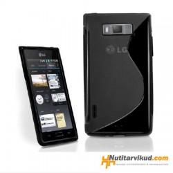 Must S-line silikoonümbris + ekraani kaitsekile LG Optimus L7 P700