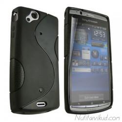 Must S-line silikoonümbris+kaitsekile Sony Ericsson Arc, Arc S