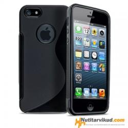 Must S-line silikoonümbris + ekraani kaitsekile iPhone 5, 5S