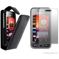 Mustad nahkkaaned + kaitsekile Samsung 5230 Star