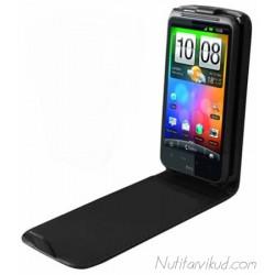 Mustad nahkkaaned + ekraani kaitsekile HTC Desire HD