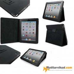 Mustad nahkkaaned + ekraani kaitsekile iPad 2