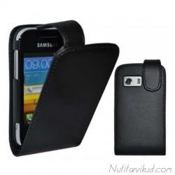 Mustad nahkkaaned + kaitsekile Samsung Galaxy Y S5360
