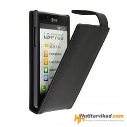 Mustad nahkkaaned  + ekraani kaitsekile LG Optimus L7 P700
