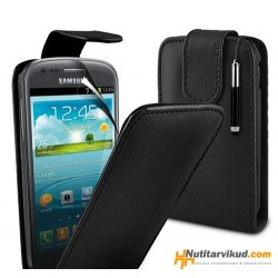 Mustad nahkkaaned  + ekraani kaitsekile Samsung Galaxy SIII Mini (i8190)