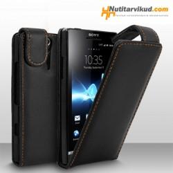 Mustad nahkkaaned  + ekraani kaitsekile Sony Xperia S (LT26i)