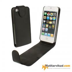Mustad nahkkaaned  + ekraani kaitsekile iPhone 5, 5S
