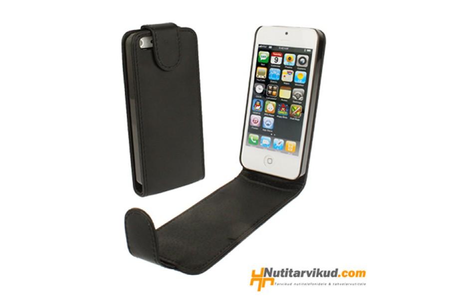 98b5c2bea8a Mustad nahkkaaned + ekraani kaitsekile iPhone 5, 5S