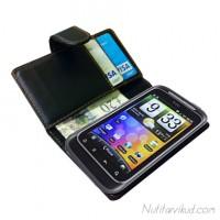 Mustad nahkkaaned + ekraani kaitsekile HTC Wildfire S