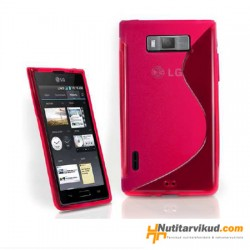 Roosa S-line silikoonümbris + ekraani kaitsekile LG Optimus L7 P700