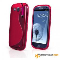 Roosa S-line silikoonümbris+kaitsekile Samsung Galaxy SIII (i9300)
