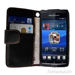 Mustad nahkkaaned + kaitsekile Sony Ericsson Xperia Arc, Arc S