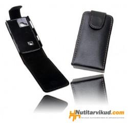 Mustad nahkkaaned + kaitsekile Sony Ericsson Xperia X10 Mini Pro
