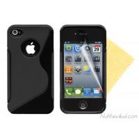 S-line must silikoonümbris + ekraani kaitsekile iPhone 4,4S