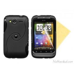 S-line must silikoonümbris + ekraani kaitsekile HTC Wildfire S