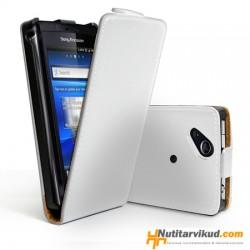 Valged nahkkaaned + kaitsekile Sony Ericsson Xperia Arc, Arc S