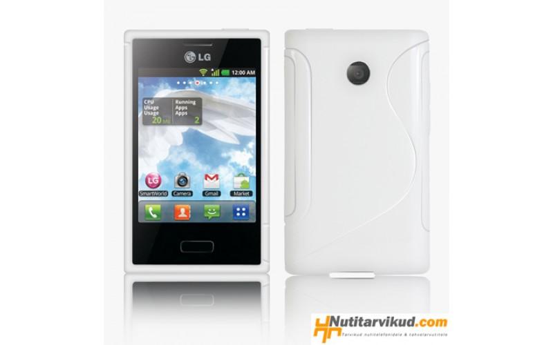Valge S-line silikoonümbris + ekraani kaitsekile LG Optimus L3 E400