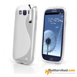 Valge S-line silikoonümbris+kaitsekile Samsung Galaxy SIII (i9300)