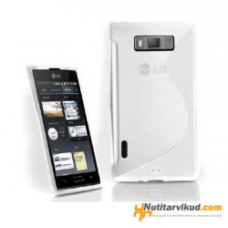 Valge S-line silikoonümbris + ekraani kaitsekile LG Optimus L7 P700