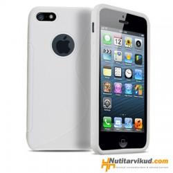 Valge S-line silikoonümbris + ekraani kaitsekile iPhone 5