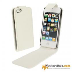 Valged nahkkaaned  + ekraani kaitsekile iPhone 5