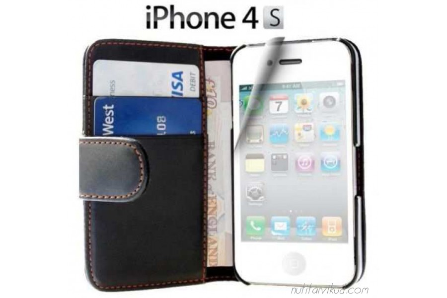893da549c01 Mustad nahkkaaned + ekraani kaitsekile iPhone 4, 4S