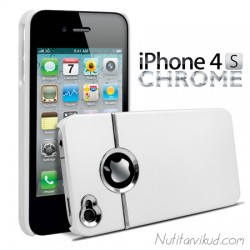 Libisemisvastase kattega valge plastümbris + ekraani kaitsekile iPhone 4, 4S