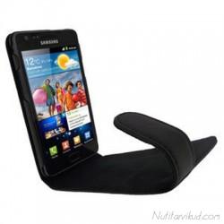 Mustad nahkkaaned + kaitsekile Samsung i9100 Galaxy S2